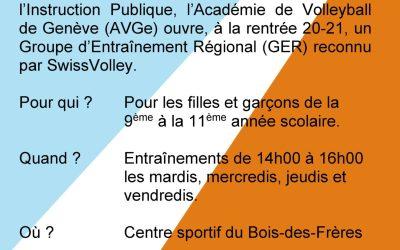Sélections pour l'Académie de Volleyball de Genève en vue de la saison 2020-2021